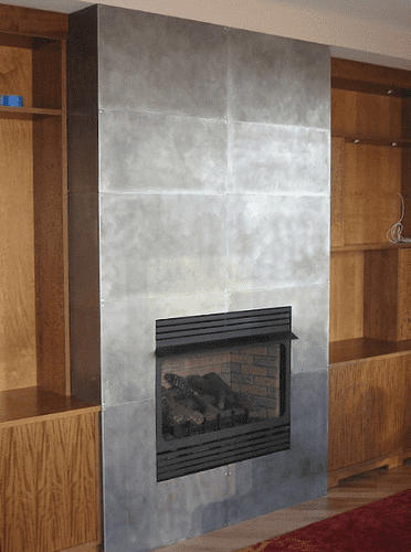 How to apply sheet metal on wall surrounding fireplace??? | Hearth ...
