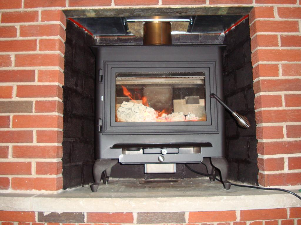 painted firebox with non high temp paint for new insert hearth