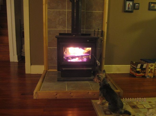First fire.jpg - Wood Stove Hearth Pads...buy Vs. Make? Hearth.com Forums Home