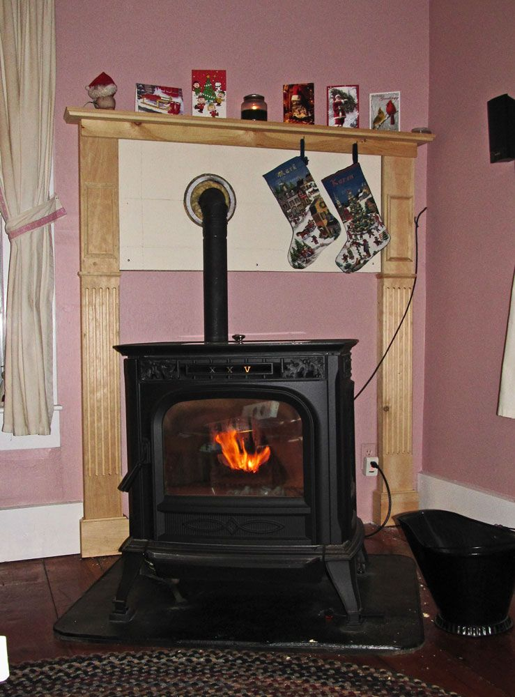 Looking To Build Mantel Behind Pellet Stove Need Some
