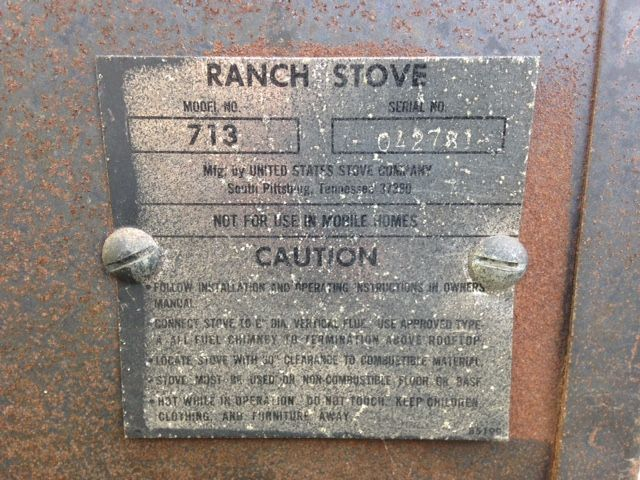 713 Ranch Stove Name plate
